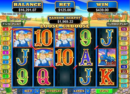 Slots Plus featuring the Video Slots Loose Caboose with a maximum payout of $250,000