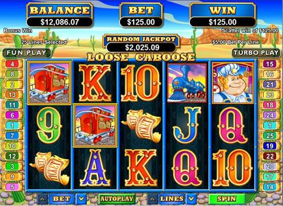 Ruby Slots featuring the Video Slots Loose Caboose with a maximum payout of $250,000