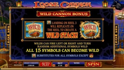 Winner Million featuring the Video Slots Loose Cannon with a maximum payout of $300,000