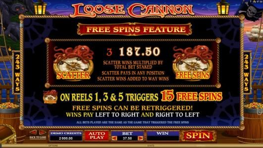 Casino Splendido featuring the Video Slots Loose Cannon with a maximum payout of $300,000