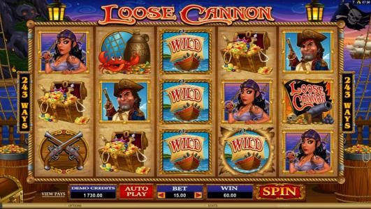 Jackpot Paradise featuring the Video Slots Loose Cannon with a maximum payout of $300,000