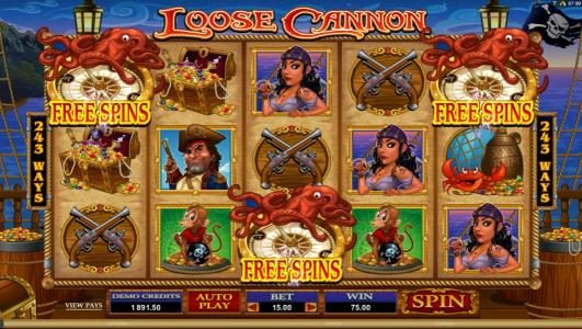 Blackjack Ballroom featuring the Video Slots Loose Cannon with a maximum payout of $300,000