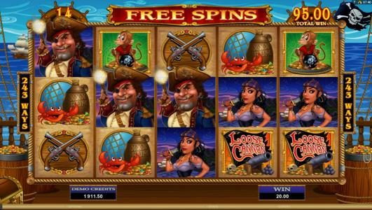 multiple winning paylines triggered during the free spins feature