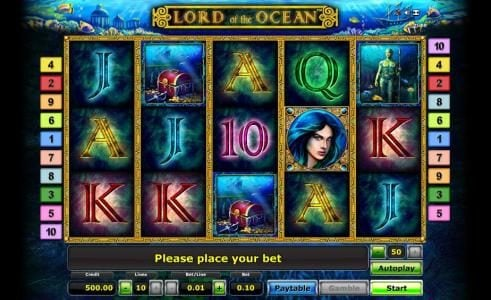 Lord of the Ocean :: main game board featuring five reels, ten paylines and a gamble feature