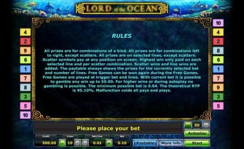Lord of the Ocean :: general game rules