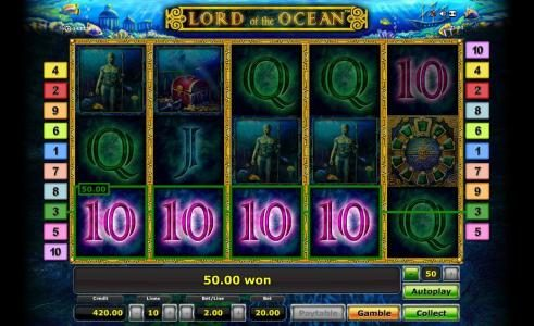 Play slots at Fun Casino: Fun Casino featuring the Video Slots Lord of the Ocean with a maximum payout of $50,000