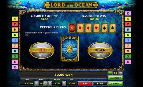 Lord of the Ocean :: gamble feature game board - select red or black for a cjance to increase your winnings