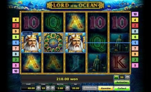 Lord of the Ocean :: three of a kind triggers a 200.00 coin big win jackpot payout