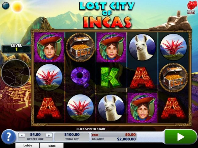 Come On featuring the Video Slots Lost City of Incas with a maximum payout of $160,000