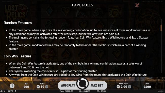 Wild Wild Bet featuring the Video Slots Lost Relics with a maximum payout of $60,000