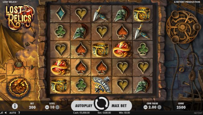 Spinzilla featuring the Video Slots Lost Relics with a maximum payout of $60,000