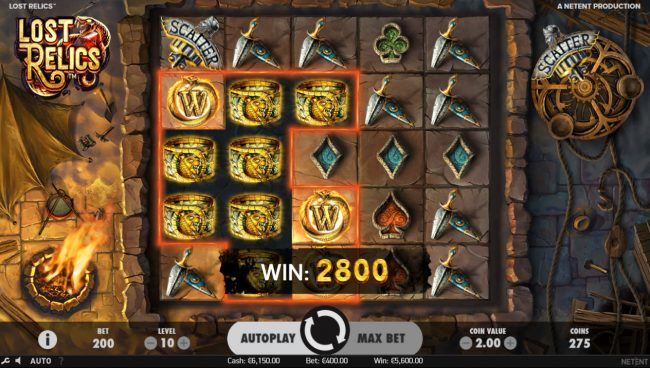 LaFiesta featuring the Video Slots Lost Relics with a maximum payout of $60,000