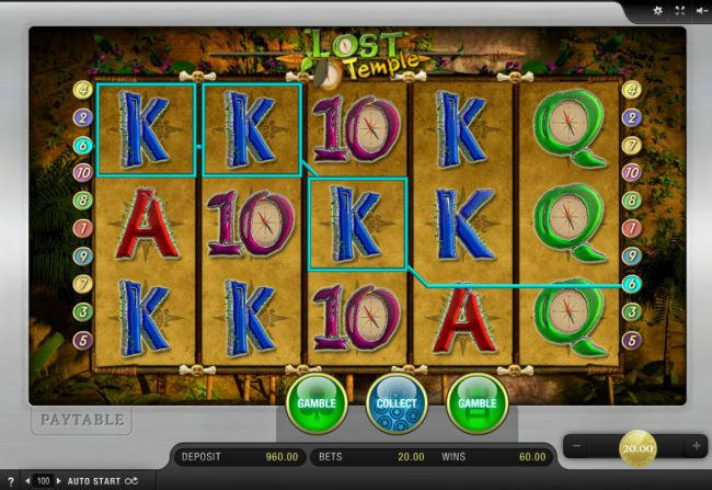 DruckGluck featuring the Video Slots Lost Temple with a maximum payout of $5,000