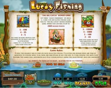 scatter, big catch bonus game and wild paytable with game rules