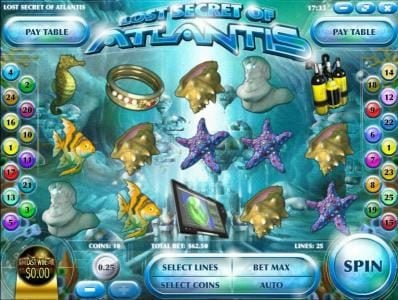 Play slots at Black Diamond: Black Diamond featuring the Video Slots Lost Secret of Atlantis with a maximum payout of $2,500