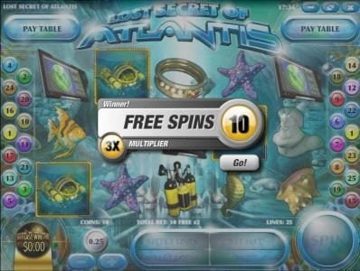 Desert Nights Rival featuring the Video Slots Lost Secret of Atlantis with a maximum payout of $2,500