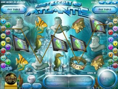 play2win featuring the Video Slots Lost Secret of Atlantis with a maximum payout of $2,500