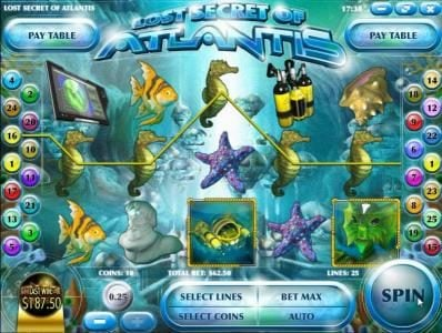 Vegas2Web featuring the Video Slots Lost Secret of Atlantis with a maximum payout of $2,500