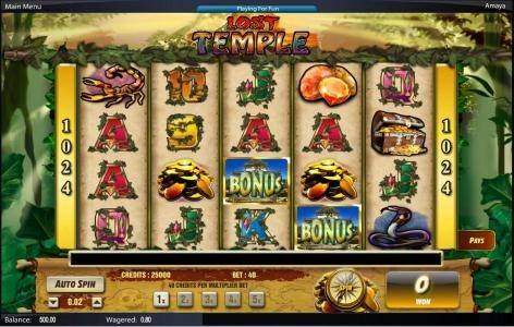 Play slots at Mango Casino: Mango Casino featuring the Video Slots Lost Temple with a maximum payout of $50,000