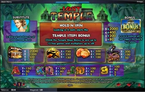 Play Hippo featuring the Video Slots Lost Temple with a maximum payout of $50,000