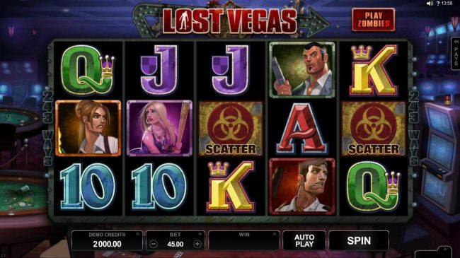 18 Bet featuring the Video Slots Lost Vegas with a maximum payout of $97,000