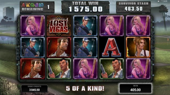 Casino Kingdom featuring the Video Slots Lost Vegas with a maximum payout of $97,000