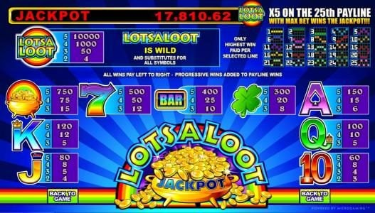 Crazy vegas featuring the Video Slots LotsaLoot 5 Reel with a maximum payout of Jackpot