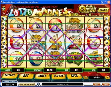 Play slots at LesA Casino: LesA Casino featuring the Video Slots Lotto Madness with a maximum payout of $100,000