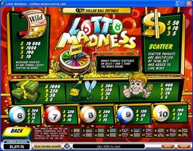 City Club Casino featuring the Video Slots Lotto Madness with a maximum payout of $100,000