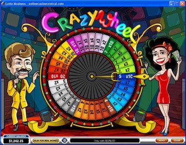 Joyland Casino featuring the Video Slots Lotto Madness with a maximum payout of $100,000