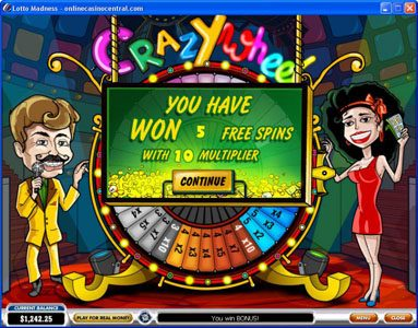 Slots Heaven featuring the Video Slots Lotto Madness with a maximum payout of $100,000