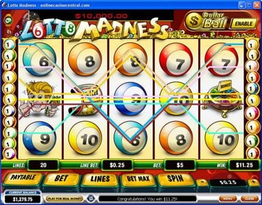 AdamEve featuring the Video Slots Lotto Madness with a maximum payout of $100,000