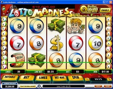 Casino Lucky Win featuring the Video Slots Lotto Madness with a maximum payout of $100,000