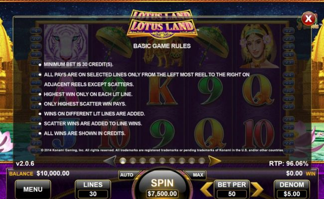 Lotus Land :: General Game Rules - The theoretical average return to player (RTP) is 96.06%.