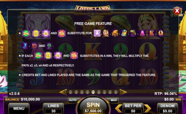 Lotus Land :: Free Games Feature Rules - Continued
