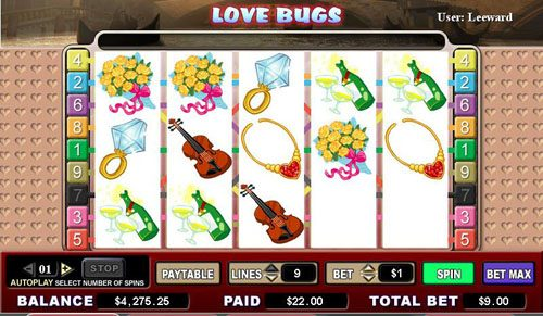 Fruity Vegas featuring the video-Slots Love Bugs with a maximum payout of 5,000x
