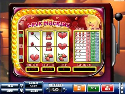 Play slots at Win 7: Win 7 featuring the Video Slots Love Machine with a maximum payout of $6,000