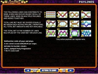 Payline diagrams 1 to 25 and general game rules.
