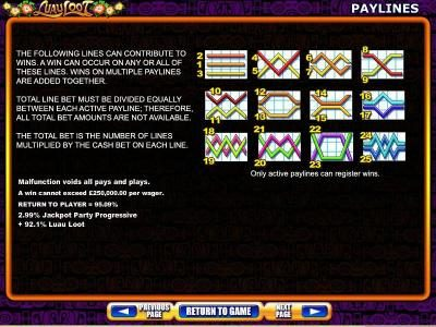 Luau Loot :: Payline diagrams 1 to 25 and general game rules.