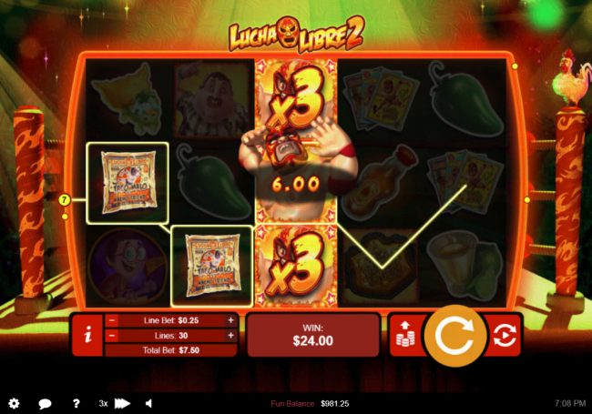 Raging Bull featuring the Video Slots Lucha Libre 2 with a maximum payout of $50,000