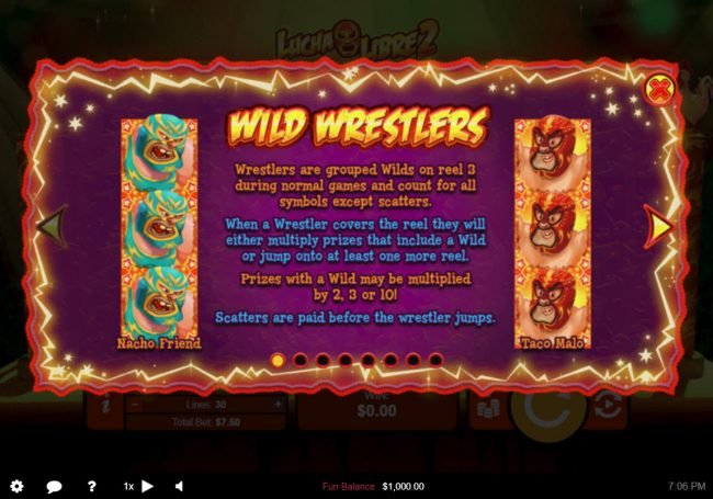 Planet7 Oz featuring the Video Slots Lucha Libre 2 with a maximum payout of $50,000