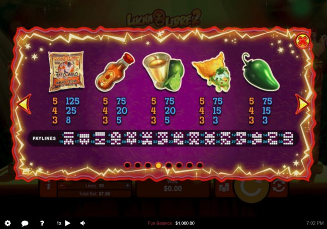 Lucha Libre 2 :: Low Value Symbols Paytable