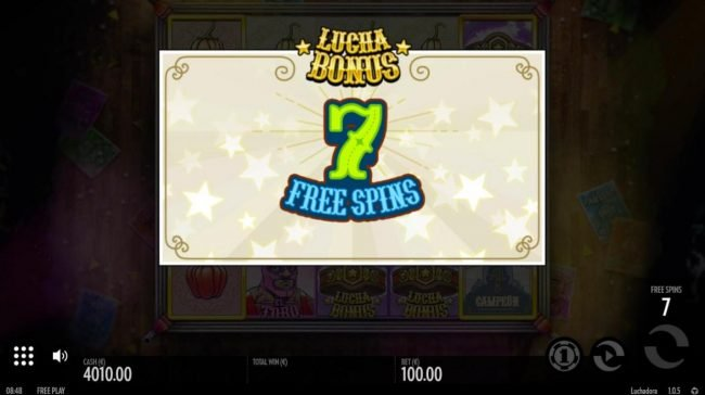 7 free spins awarded.