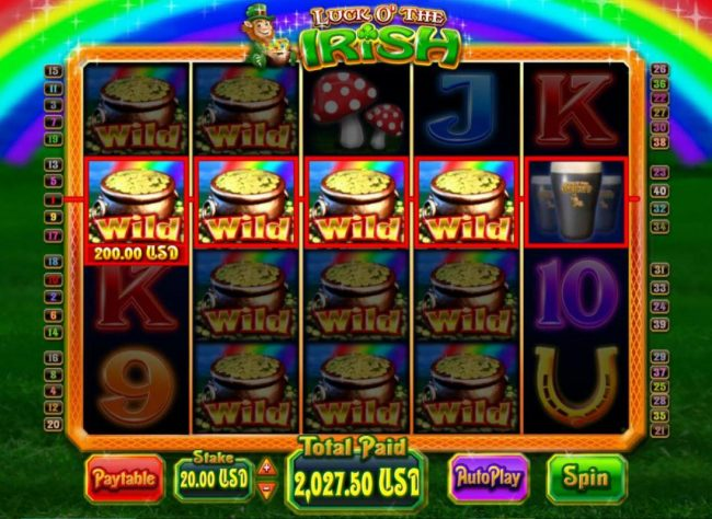 Spartan Slots featuring the Video Slots Luck O' the Irish with a maximum payout of $5,000