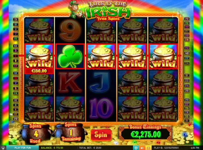 Vegas Baby featuring the Video Slots Luck of the Irish with a maximum payout of $50,000