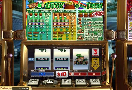 Intertops Classic featuring the Video Slots Luck o' the Irish with a maximum payout of $24,000