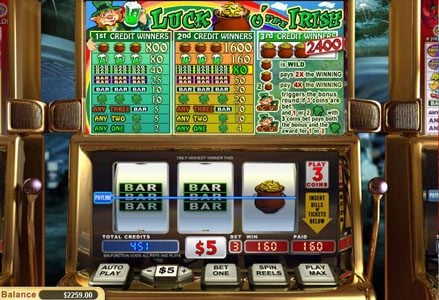 Lincoln featuring the Video Slots Luck o' the Irish with a maximum payout of $24,000