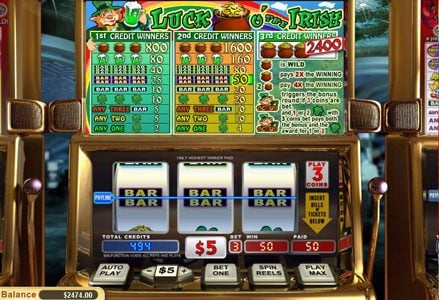 Liberty Slots featuring the Video Slots Luck o' the Irish with a maximum payout of $24,000