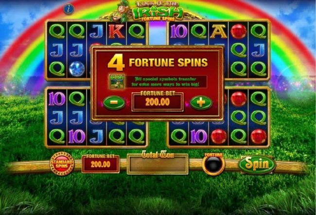 Luck O' The Irish Fortune Spins :: 4 Fortune Spins - All special symboilstransfer for even more ways to win big! Your bet is increased when playing the Fortune Spins option.