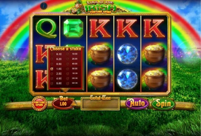 Luck O' The Irish Fortune Spins :: The bet level can be easliy adjusted by clicking on the BET and selecting from one of the available coin options listed.